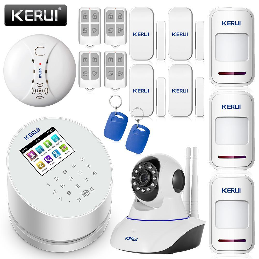 KERUI Android IOS app remote control WIFI GSM PSTN three in one home security