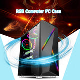 LEORY Transparente Computer PC Case Gaming Tower ATX Audio with 2 RGB Color Changing Light Strips 350X170X420mm
