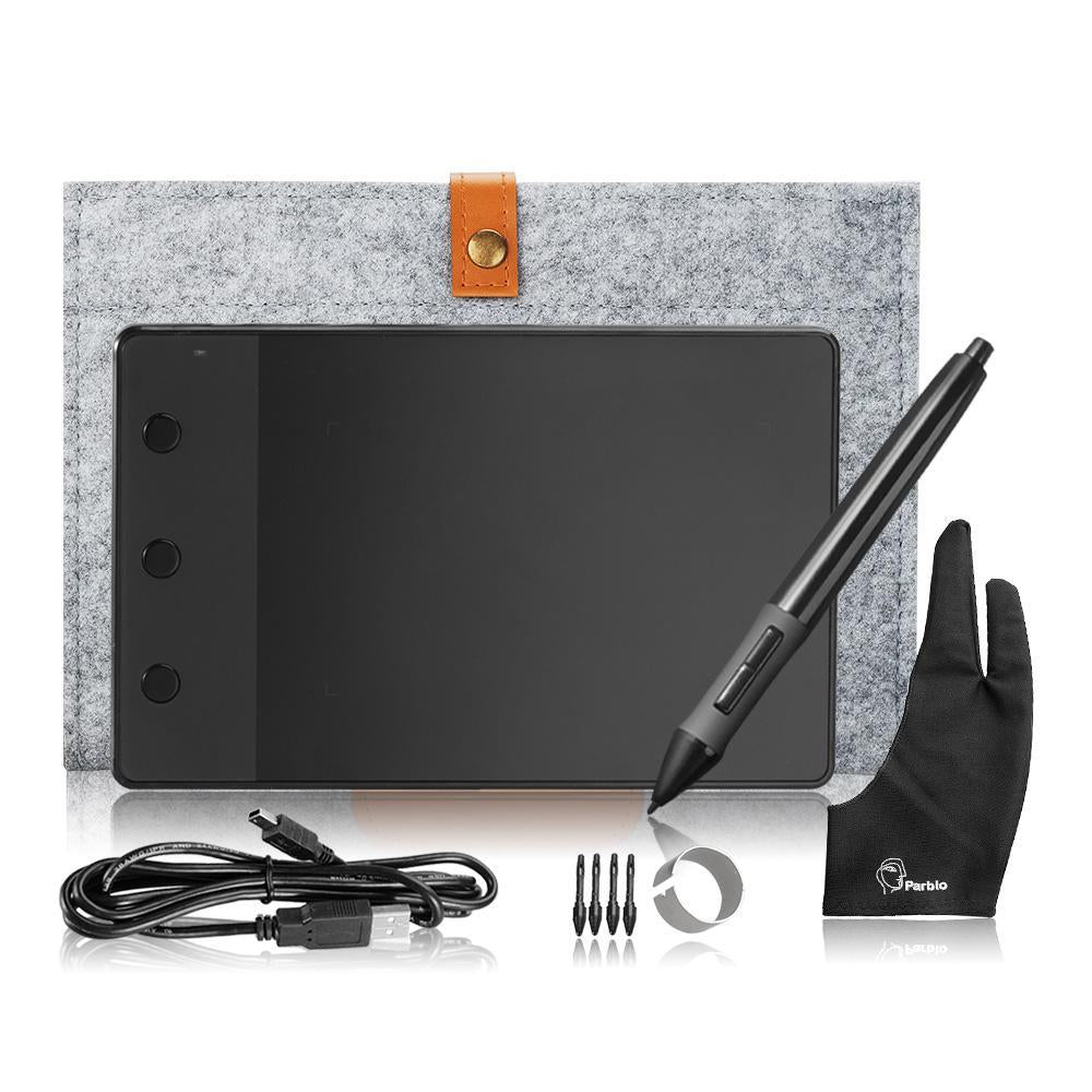 Original Huion H420 Graphic Tablet Art Drawing Board+10 Inches Wool Liner Bag +Two Fingers Anti-fouling Glove as Gift