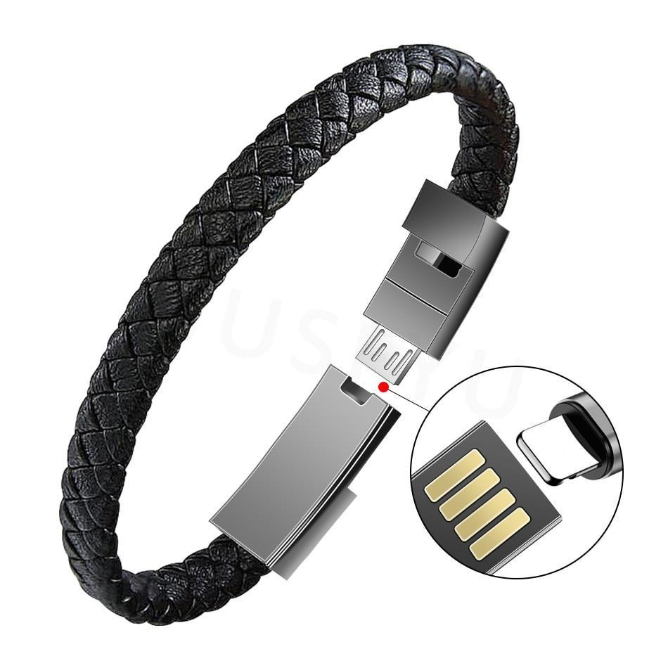 Outdoor Portable Leather Mini Micro USB Bracelet Charger Data Charging Cable Sync Cord For iPhone 6 7 Android Type-C Phone Cable