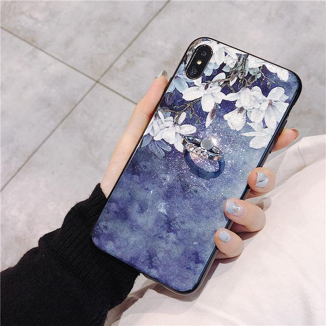 Ring Holder Stand Phone Case For Samsung Galaxy A6 A6S A7 A8 Plus A8s A8s A9 Star A9Pro 2019 Flower Soft Silicone Cover Coque