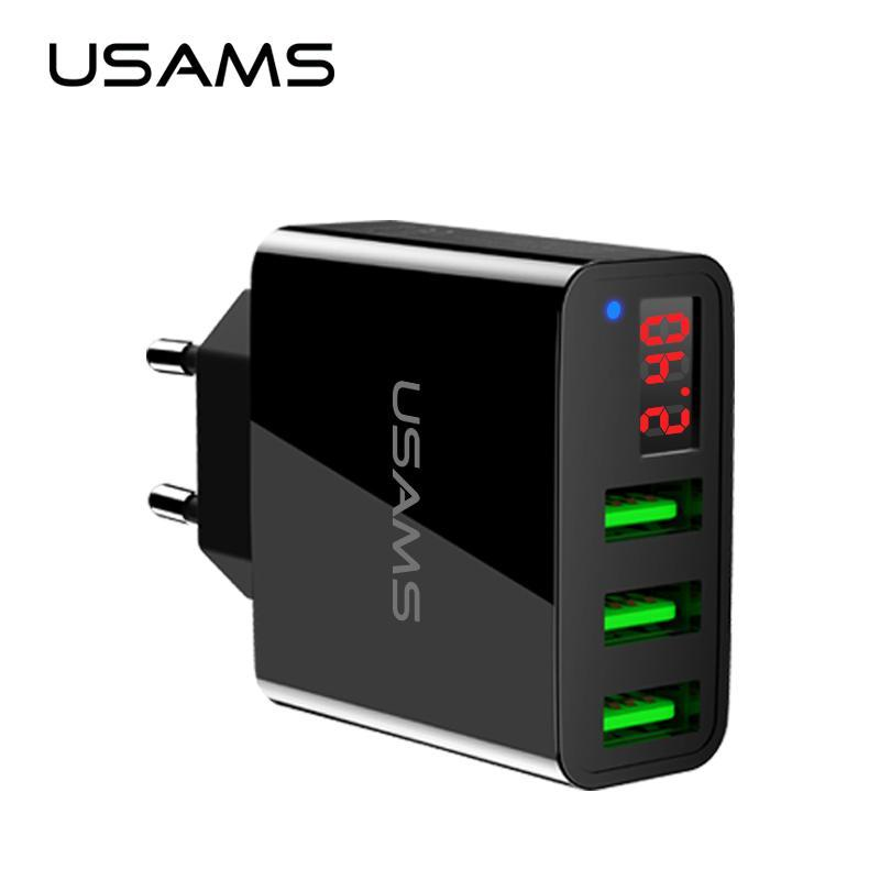USAMS 3 Port USB Phone Charger LED Display EU Plug Total Max 3.4A Smart Fast Charger Mobile Wall Charger for iPhone iPad Samsung
