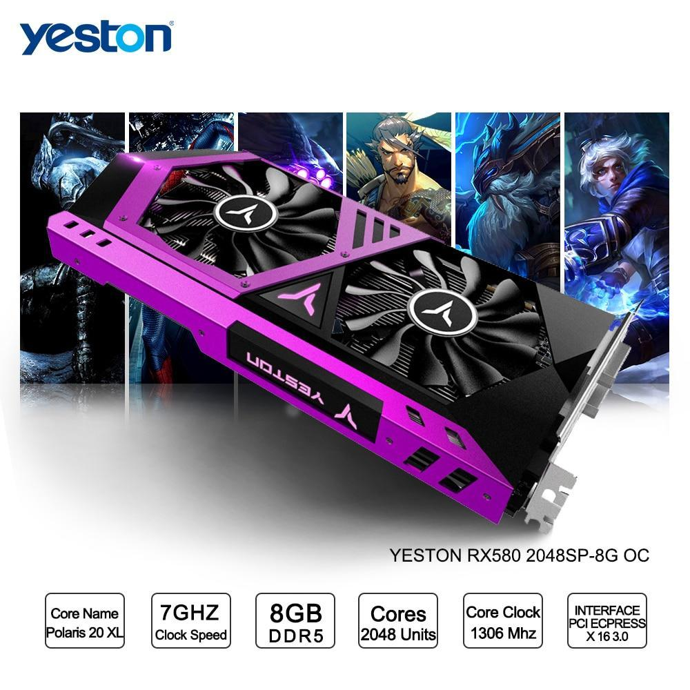 Yeston Radeon RX 580 GPU 8GB GDDR5 256bit Gaming Desktop computer PC Video Graphics Cards support DVI-D/HDMI PCI-E X16 3.0