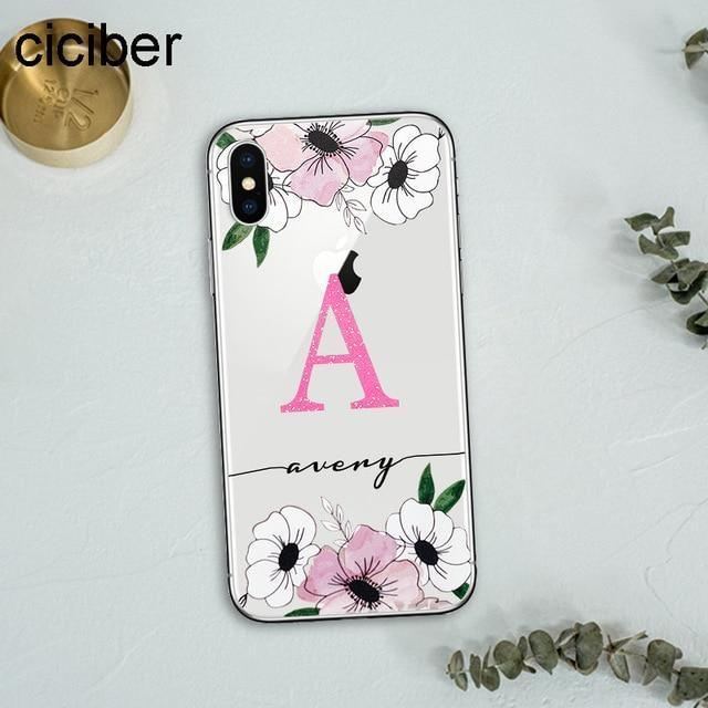 ciciber DIY Name Custom Design Name for iPhone Case 7 6 8 6s Plus X XR XS MAX Funda Phone Case for Samsung S10 S9 S10+ Plus S10e