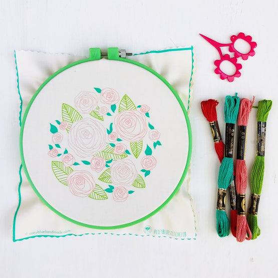 coming up roses embroidery kit