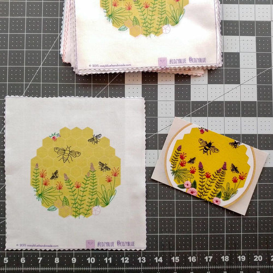market day pre-printed fabric embroidery pattern