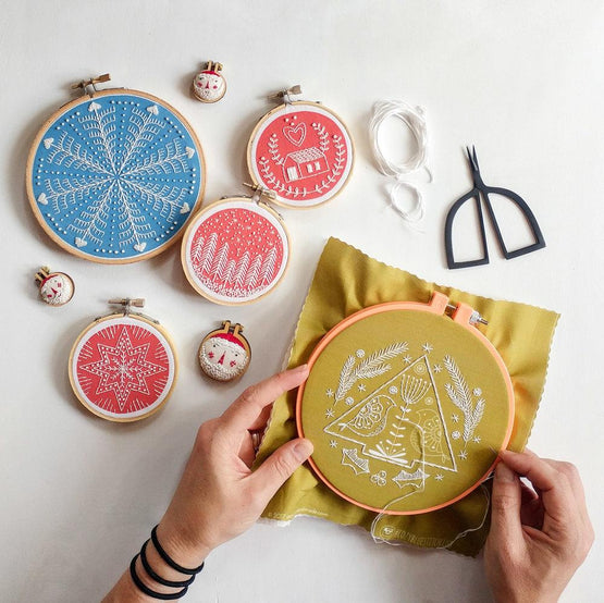 folk holiday embroidery kit