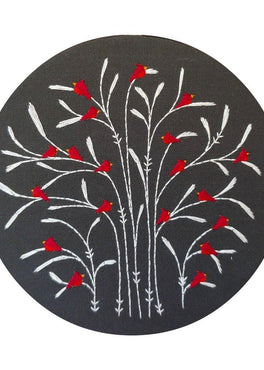 winter : cardinals pre-printed fabric embroidery pattern