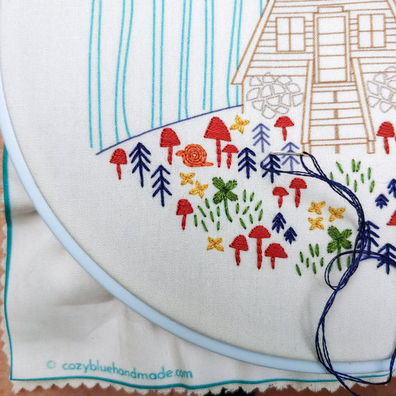 cozy cabin embroidery kit