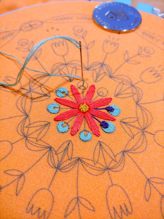 tangerine mandala embroidery kit