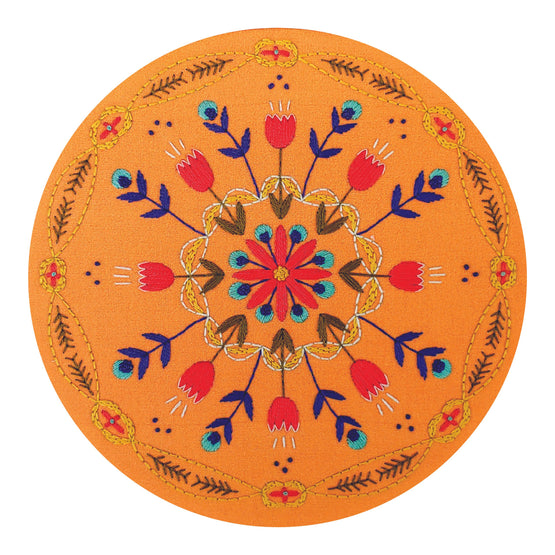 tangerine mandala pre-printed fabric embroidery pattern