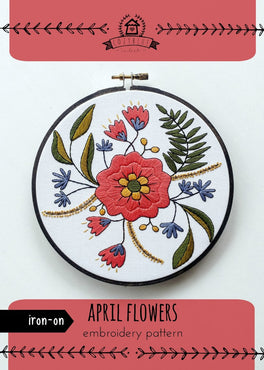 april flowers iron-on embroidery pattern