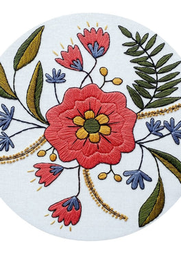 april flowers pre-printed fabric embroidery pattern