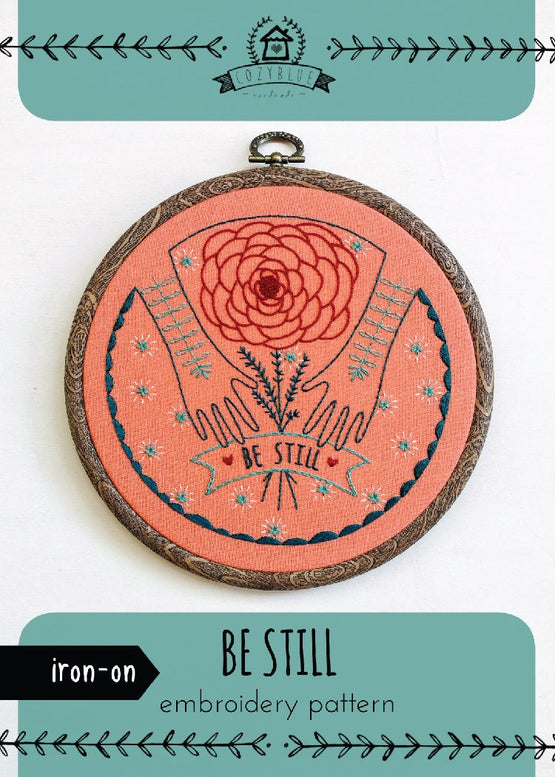 be still iron-on embroidery pattern