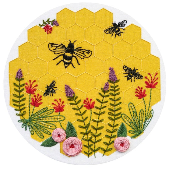 bee lovely pre-printed fabric embroidery pattern