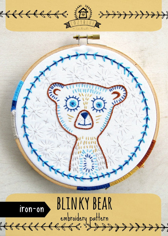 blinky bear iron-on embroidery pattern