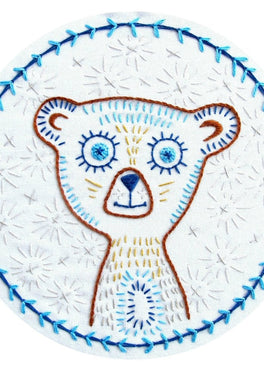 blinky bear pre-printed fabric embroidery pattern