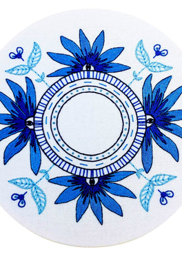 blue eyes pre-printed fabric embroidery pattern