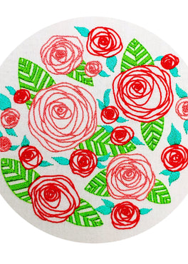coming up roses pre-printed fabric embroidery pattern