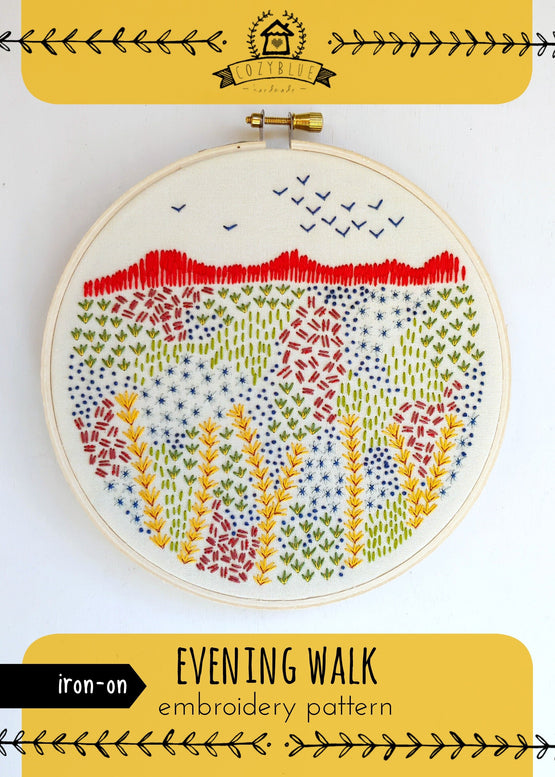 evening walk iron-on embroidery pattern