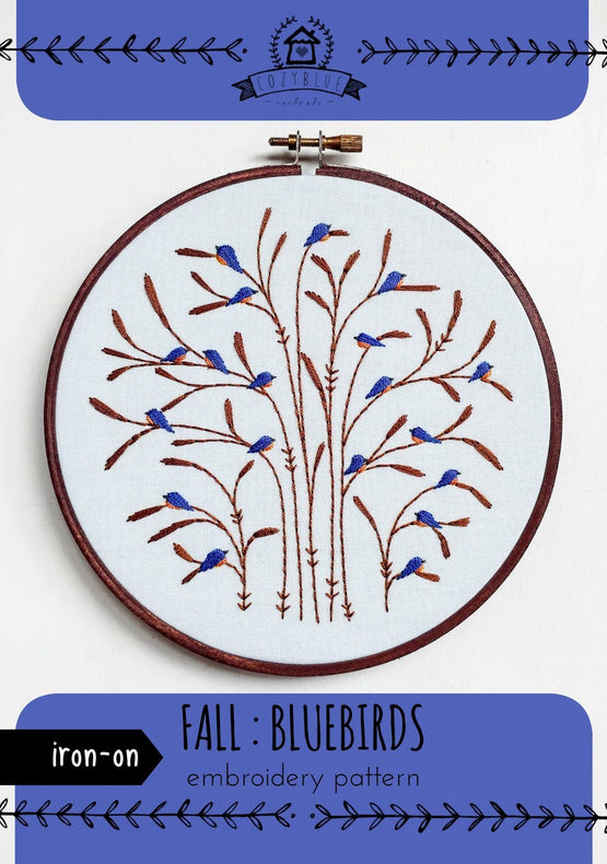 fall : bluebirds iron-on embroidery pattern
