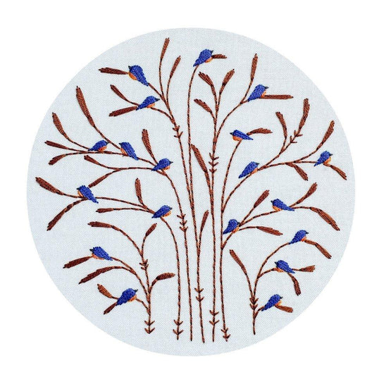 fall : bluebirds pre-printed fabric embroidery pattern