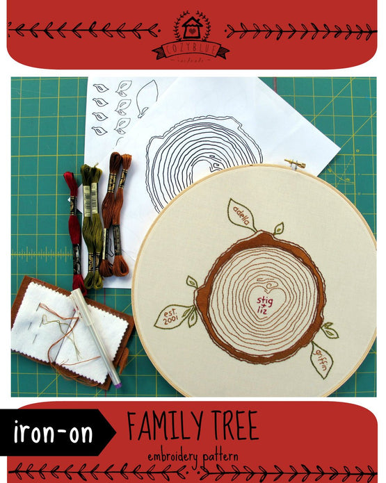 family tree iron-on embroidery pattern