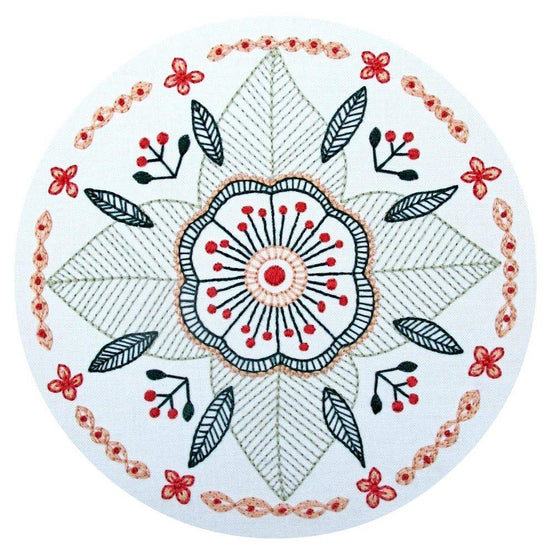 floral mandala pre-printed fabric embroidery pattern