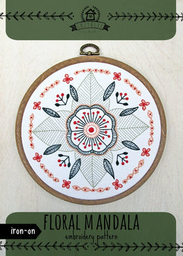 floral mandala iron-on embroidery pattern