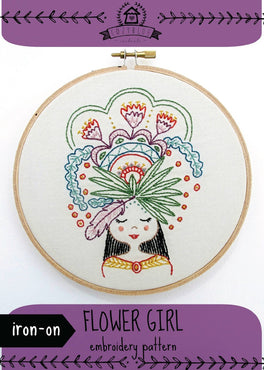 flower girl iron-on embroidery pattern