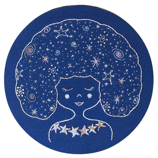 galaxy girl pre-printed fabric embroidery pattern