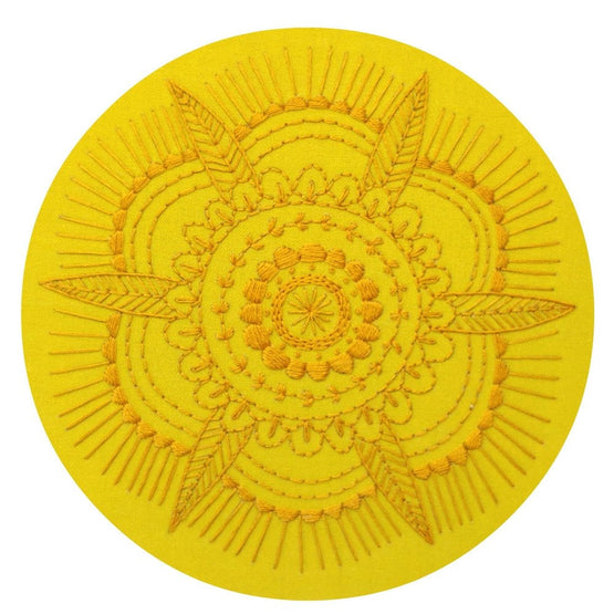 golden mandala pre-printed fabric embroidery pattern