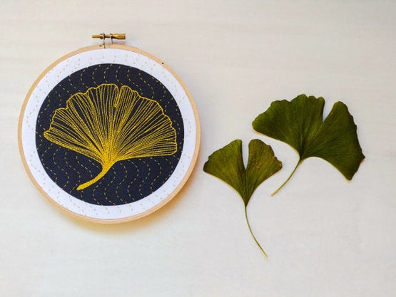 ginkgo embroidery kit