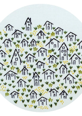 it takes a village pre-printed fabric embroidery pattern
