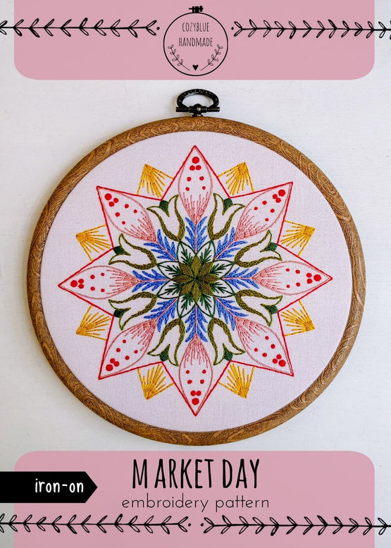 market day iron-on embroidery pattern
