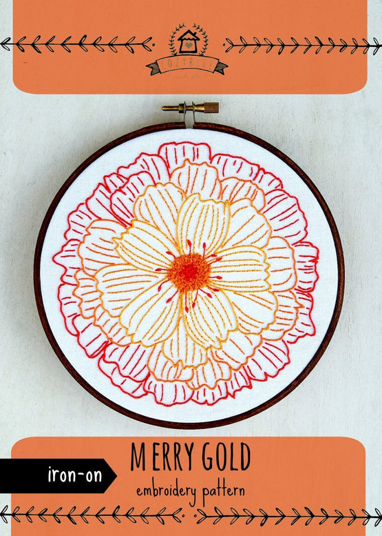 merry gold iron-on embroidery pattern