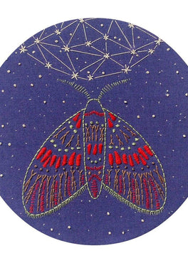 midnight flight pre-printed fabric embroidery pattern