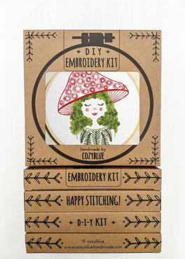 mushroom girl embroidery kit