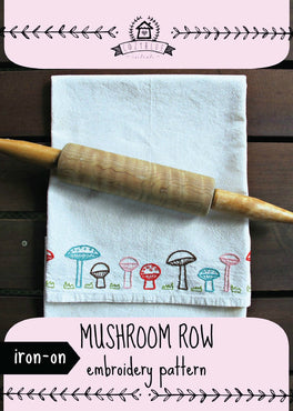 mushroom row iron-on embroidery pattern