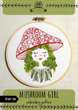 mushroom girl iron-on embroidery pattern