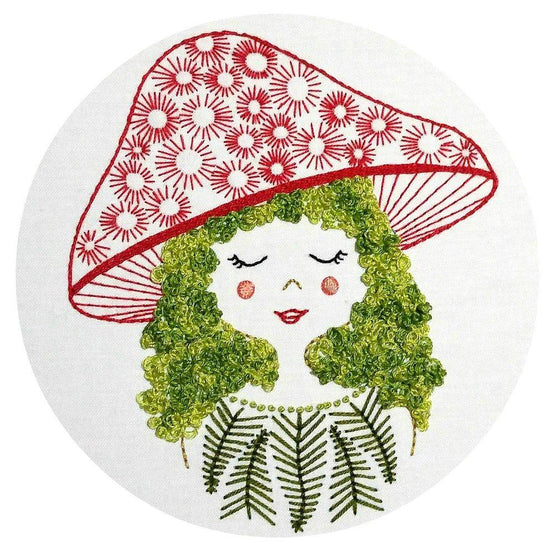 mushroom girl pre-printed fabric embroidery pattern