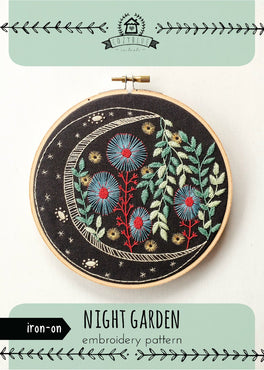 night garden iron-on embroidery pattern