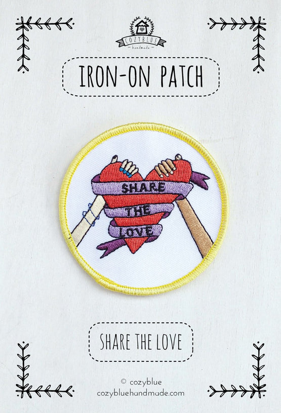 share the love iron-on patch