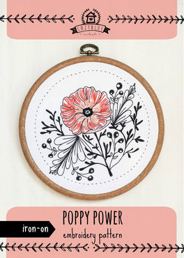 poppy power iron-on embroidery pattern