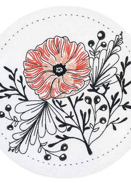 poppy power pre-printed fabric embroidery pattern