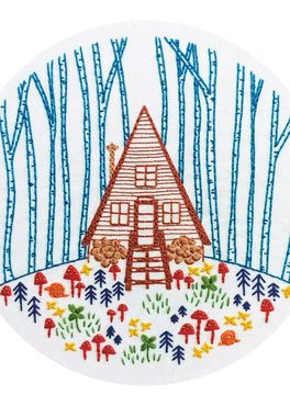 cozy cabin pre-printed fabric embroidery pattern