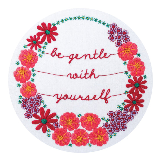 be gentle with yourself pre-printed fabric embroidery pattern