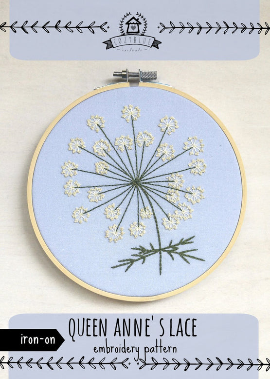 queen anne's lace iron-on embroidery pattern