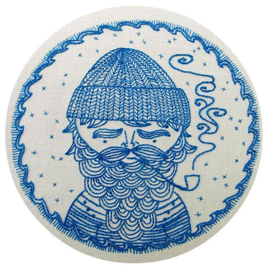 sea captain pre-printed fabric embroidery pattern
