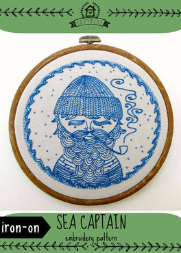 sea captain iron-on embroidery pattern